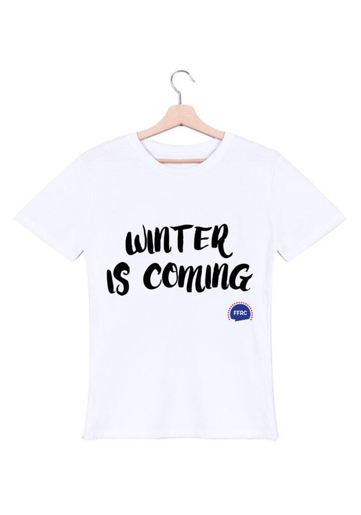 winter is coming tshirt homme blanc federation francaise de la replique culte
